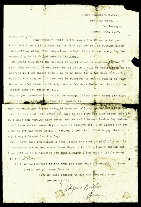 Letter of March 28, 1917 from Rossie O. Knight to his brother Leland Thomas Knight.
