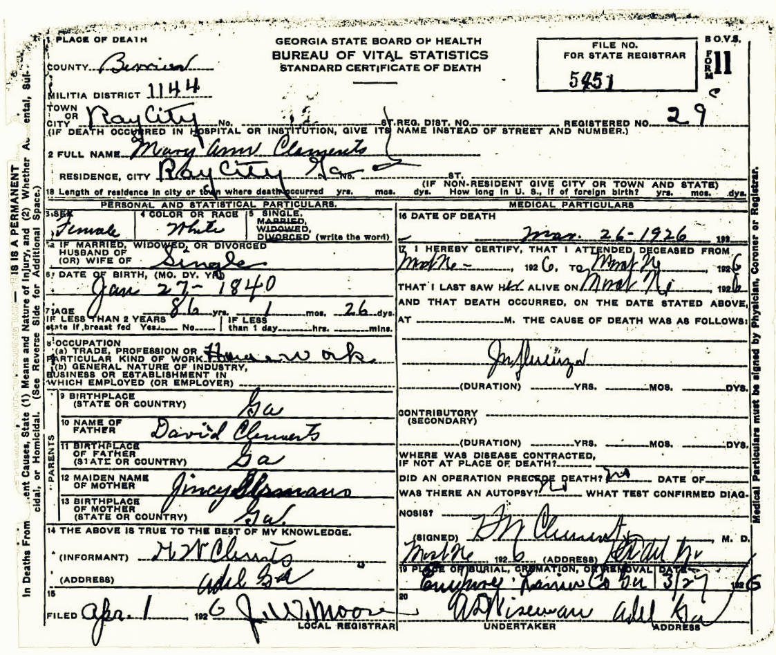 New ramah cemetery ray city history blog death certificate of mary ann clements march 26 1926 ray city ga 1betcityfo Choice Image