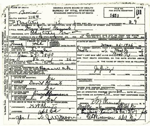Death certificate of Mary Ann Clements, March 26, 1926, Ray City, GA