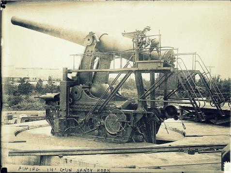 Aiming a 14 inch artillery gun at Sandy Hook, Fort Hancock, New Jersey,