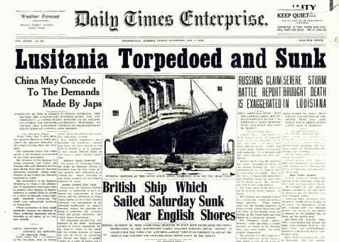 Lusitania Torpedoed