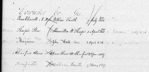 1836-37 Postmasters at Magnum  and Sharpe's Store Post Offices, from official Records of Appointment of U. S. Postmasters.