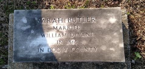 Grave of Sarah Butler DeVane (1842-1896), Pleasant Cemetery, Berrien County, GA.