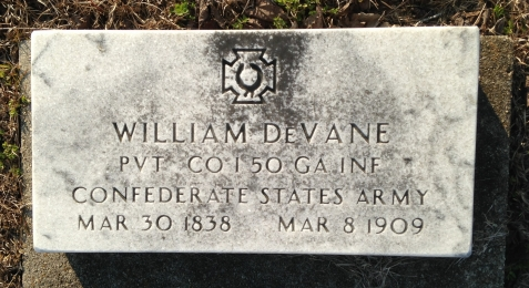 Grave of William Devane, Pleasant Cemetery, near Ray City, GA