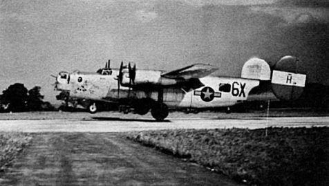 A B-24 Liberator Bomber belonging to the 854 AAF Bomber Squadron. This plane was one of 15 B-24s was shot down on the Misburg Mission, November 26, 1944.