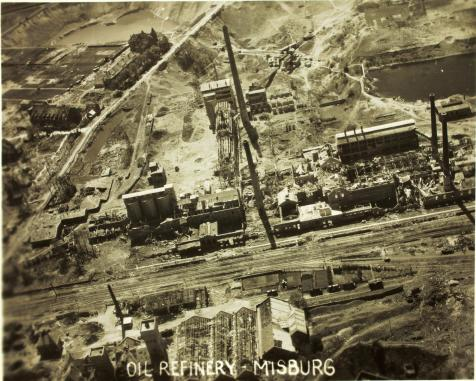 WWII aerial reconnaissance photo of bombing of the oil refinery at Misburg, Germany.