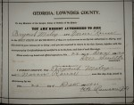 Marriage certificate of Bryant L. Miley and Narcissus Rouse, Lowndes County, GA