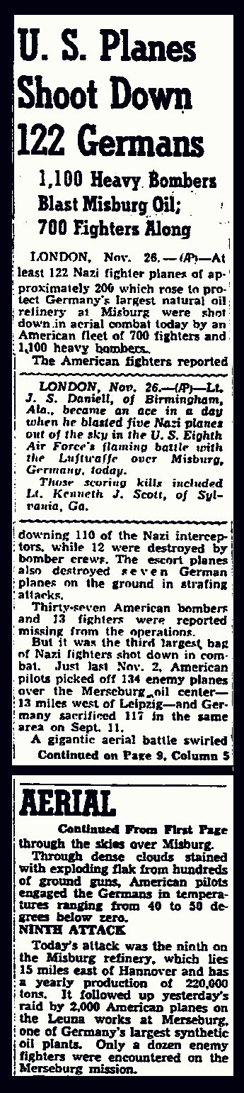 Atlanta Constitution reports bombers lost in November 26, 1944 raid on Misburg oil refinery.