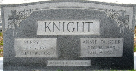 Grave of Perry Thomas Knight and Annie Dugger, Union Church Cemetery, Lanier County, GA