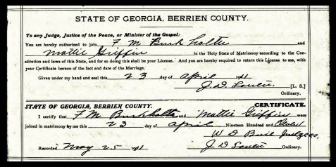 Francis Marion Burkhalter and Mattie Griffin were married April 23, 1911 in Berrien County, GA