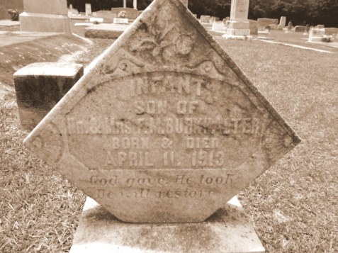 Grave of the infant son of Mattie Griffin and Francis Marion Burkhalter, Beaver Dam Cemetery, Ray City, GA.
