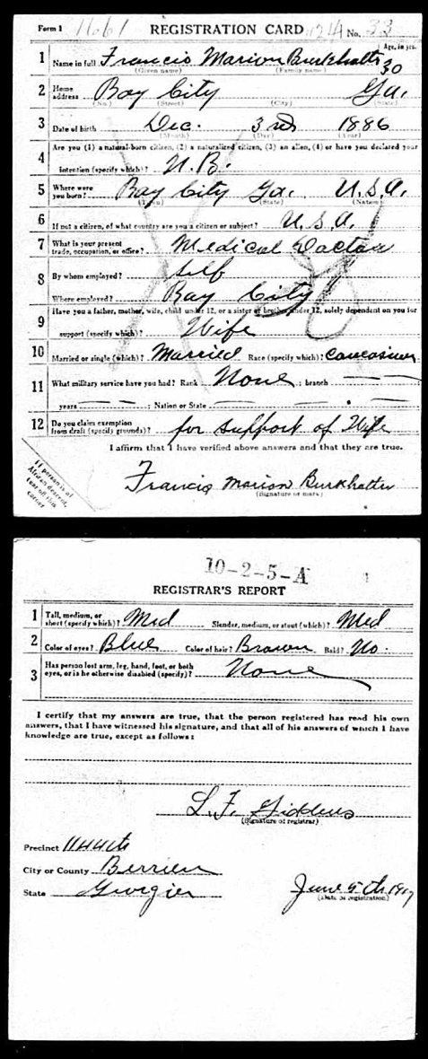 WWI draft registration of Dr. Francis Marion Burkhalter, Ray City, GA