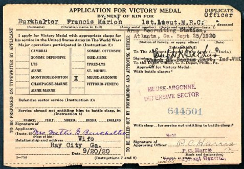 Application for WWI Victory Medal submitted posthumously for Francis Marion Burkhalter