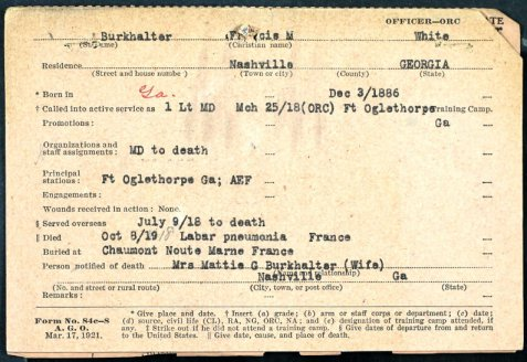 Francis Marion Burkhalter, WWI Service Card