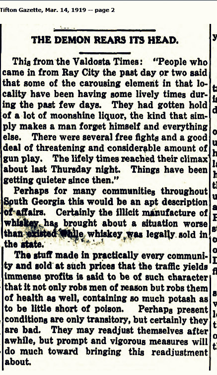 Bootleg alcohol in Berrien County, 1919.
