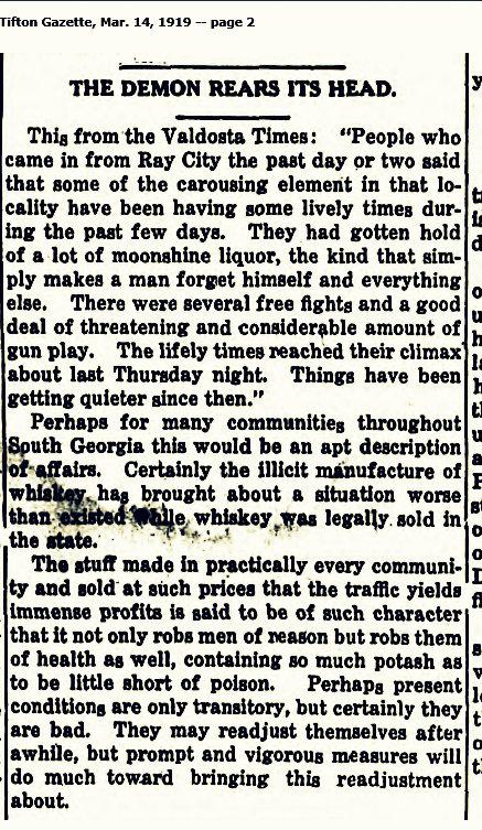 Bootleg alcohol in Berrien County, 1919.