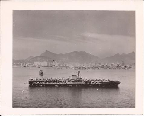 Aircraft Carrier USS Franklin D. Roosevelt, off the coast of Rio de Janerio, February 1-11, 1946. Image: During her shakedown cruise USS Franklin D. Roosevelt (CVB-42) visited Rio de Janeiro, Brazil, 1–11 February 1946. Image: http://www.navsource.org/archives/02/42.htm
