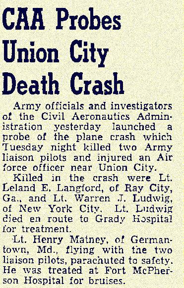Leland E. Langford killed in plane crash,  May 31, 1949.