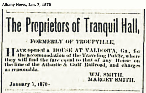 Advertisement for Tranquil Hall, upon its relocation from Troupville, GA to Valdosta, GA, 1870.