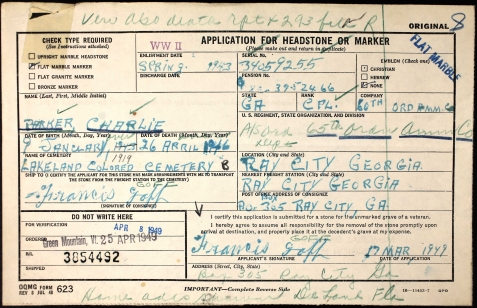 Application for military headstone for Charlie Parker, WWII veteran.