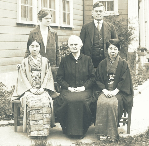 1950s Missionaries in Japan. Seated center is believed to be Pearl Allene Todd. To her right is Kuni Anazawa Wada. Standing are Mr. and Mrs. McCollum, Southern Baptist Missionaries. Image source: http://www.discovernikkei.org/es/nikkeialbum/albums/440/slide/?page=16