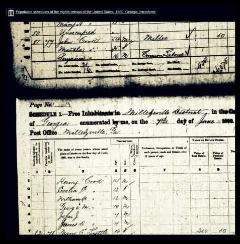 1860 census enumeration of Benjamin T. Cook in his father's household, Milledgeville, Baldwin County, GA<br /> https://archive.org/stream/populationschedu111unit#page/n139/mode/1up
