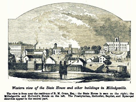 Western view of the State House and other buildings in Milledgeville. The view is from near the residence of R. M. Orme, Esg.; the State House is seen on the right; the Milledgevill and McComb's Hotels on the left. The Presbyterian, Methodist, Baptist, and Episcopal churches appear in the central part.