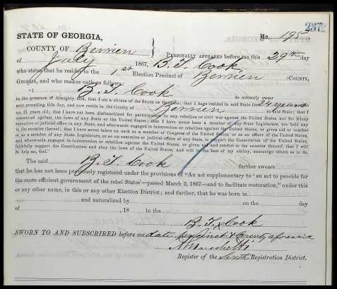 Benjamin Thomas Cook,1867 Oath of Allegiance, Berrien County, GA