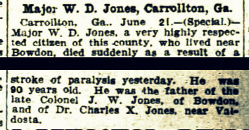 Obituary of Major William Dudley Jones, died June 19, 1905.