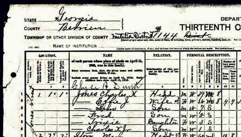 Census enumeration of Dr. Charles X. and family in Rays Mill, Berrien County, Georgia, April 15, 1910.