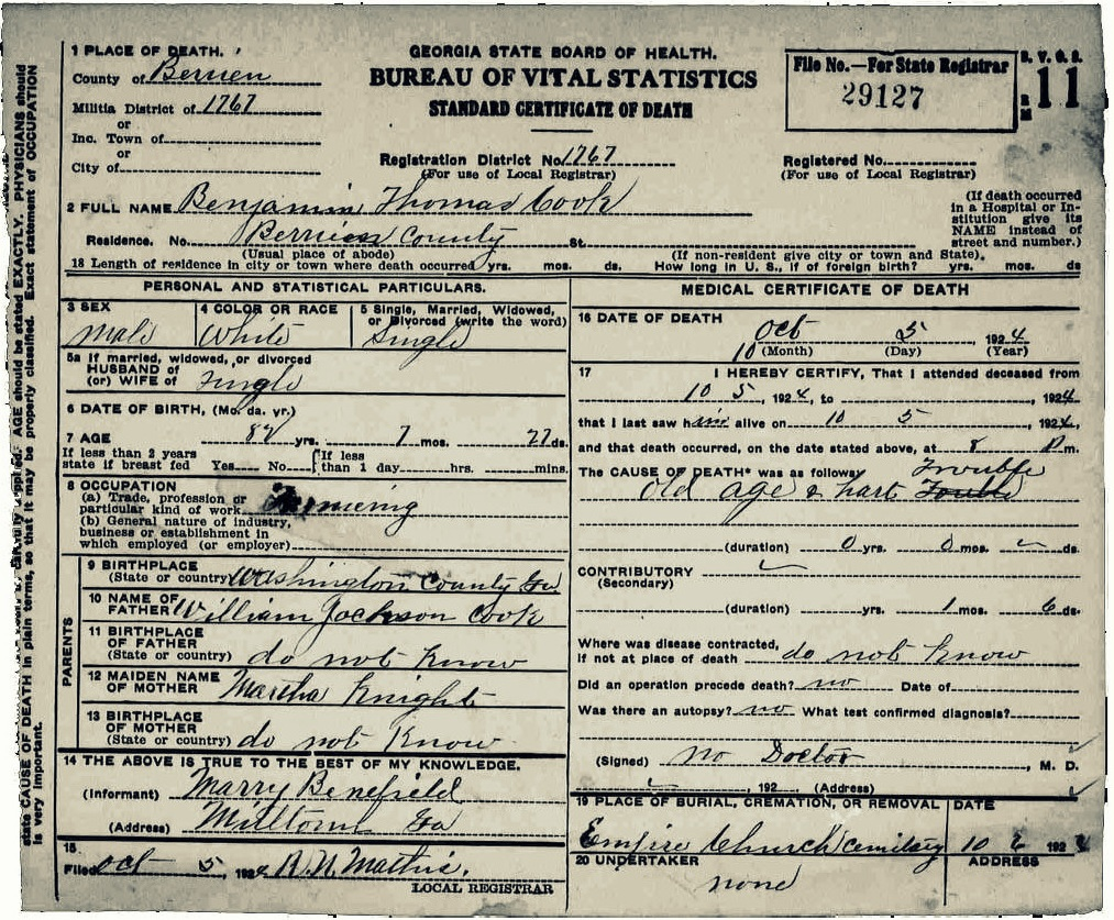 Outlaw family ray city history blog 1924 death certificate of benjamin thomas cook berrien county ga aiddatafo Gallery