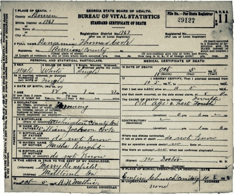 1924 death certificate of Benjamin Thomas Cook, Berrien County, GA