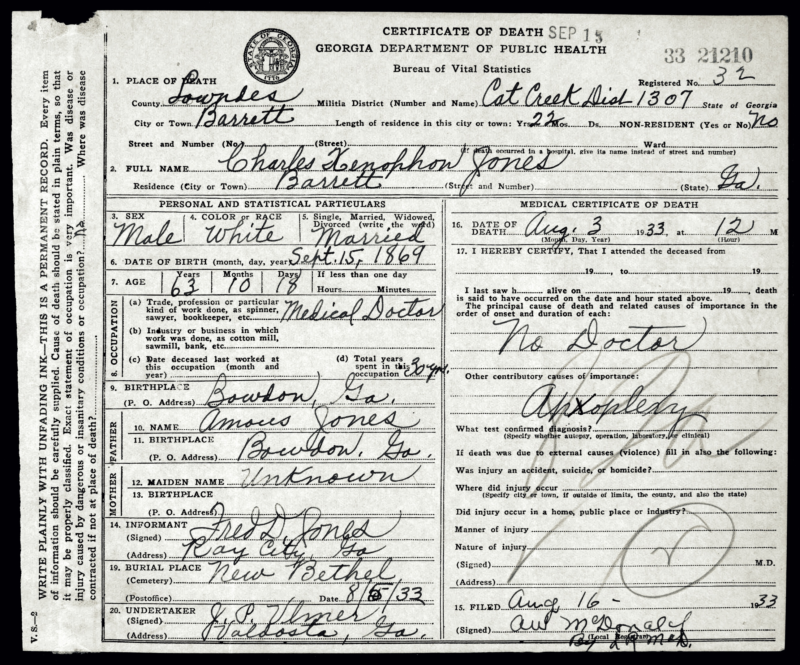 Barretts ga ray city history blog death certificate of charles x jones first elected mayor of ray city ga aiddatafo Image collections