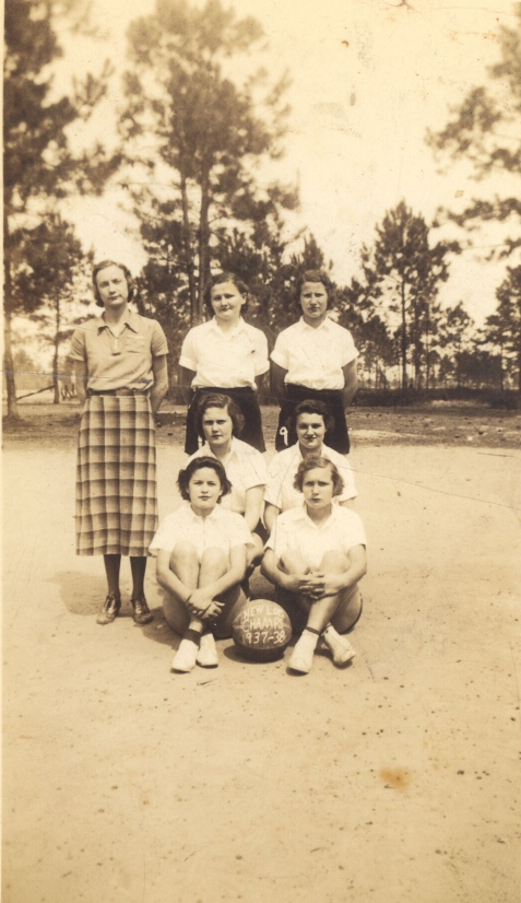 New Lois Girls Basketball, Champions 1937-1938 Mrs. Patten, Edna Bennett, Myrtice Jordan, Hazel Ray, Hazel Fletcher, Alma Luke, Lucille Knowles. Photo courtesy of Faye Jernigan and www.berriencountyga.com