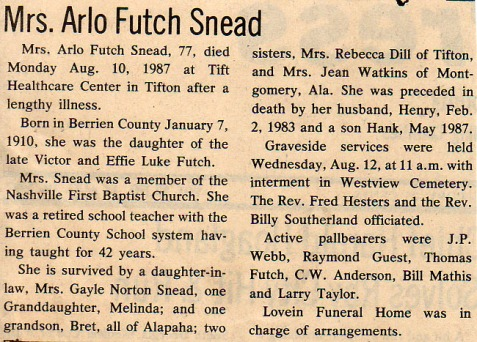 Obituary of Arlo Futch Snead. Courtesy of Bill Outlaw.