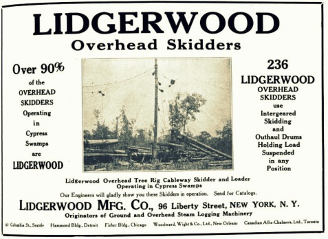 Advertisement for overhead skidders manufactured by Lidgerwood Mfg. Co. appearing in the Lumber World Review, November 10, 1921. Overhead skidders were used by the Bootle & Lane Sawmill to extract timber from Ten Mile Bay, about seven miles northeast of Ray City, GA.