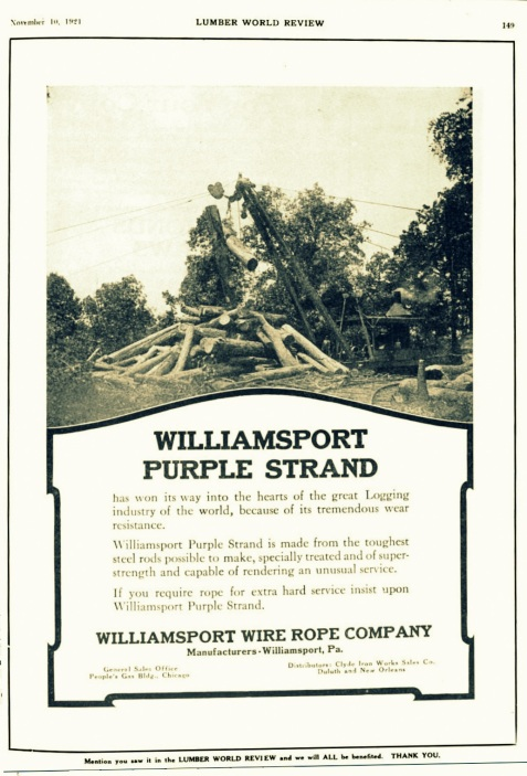 Advertisement for steel cable used in overhead skidder operations, manufactured by Williamsport Wire Rope Company, appearing in the Lumber World Review, November 10, 1921. Overhead skidders rigged with pulleys and steel cables were used by the Bootle & Lane Sawmill to harvest timber from Ten Mile Bay, about seven miles northeast of Ray City, GA.