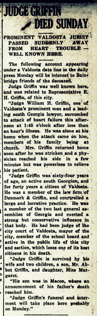 Obituary of William Hamilton Griffin