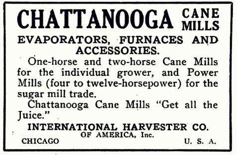 1920 advertisement for Chattanooga cane mills, evaporators, furnaces and accessories.