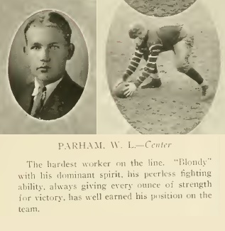 At North Georgia Agricultural College (now the University of North Georgia), William Lamar Parham played football, basketball, and baseball. He was a member of the literary society and the Sigma Nu Fraternity.
