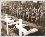 THIS PHOTO SHOWS: German soldiers stand bareheaded at the graves of these victims of German cruelty. In the background, soldiers of the 82nd U.S. Airborne Division witness the burial proceedings at Ludwigslust. U.S. Signal Corps Photo ETC-H-45-46088. SERVICED BY LONDON OWI TO LIST B CERTIFIED AS PASSED BY SHAEF CENSOR