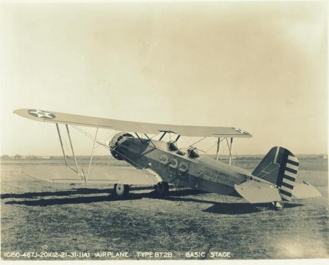 Douglas BT2B biplane at Randolph Field, TX. William Lamar Parham, of Berrien County, GA was on a solo training flight in a Douglas BT2B Basic Trainer, when his plane suddenly dived into the ground. Parham was the first airman killed at Randolph Field.