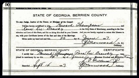 Marriage certificate of Henry Howard Thompson, June 7, 1917, Berrien County, GA.