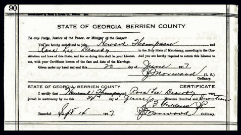 Marriage certificate of Henry Howard Thompson, June 7, 1917, Berrien County, GA.