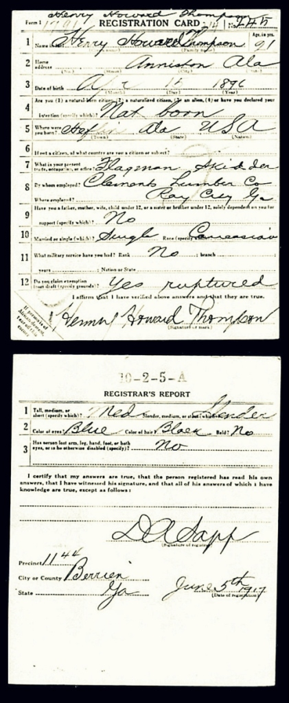 Henry Howard Thompson, Draft registration card, 1917