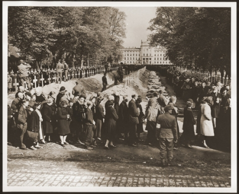 German civilians from Ludwigslust file past the corpses and graves of 200 prisoners from the nearby concentration camp of Wöbbelin. Image source: U.S. Holocaust Memorial Museum