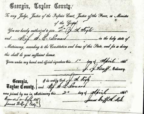 Marriage certificate of James A. Fogle and Sarah E. Leonard, Taylor County, GA