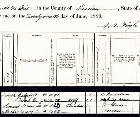 1880 Census enumeration of Dr. James A. Fogle, 1156 Georgia Militia District, Berrien County, GA