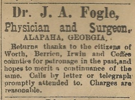 Dr, J. A. Fogle, physician and Surgeon