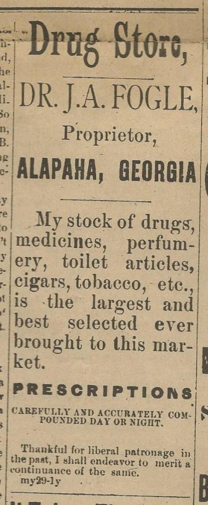 1886-0ct-2-alapaha-star-ad-fogle-drug-store